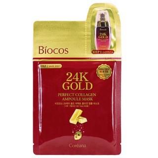 Mặt Nạ 2 Bước Siêu Tinh Chất Dưỡng Trắng Da Chiết Xuất Từ Vàng 24k Biocos 24K Gold Perfect Ampoule