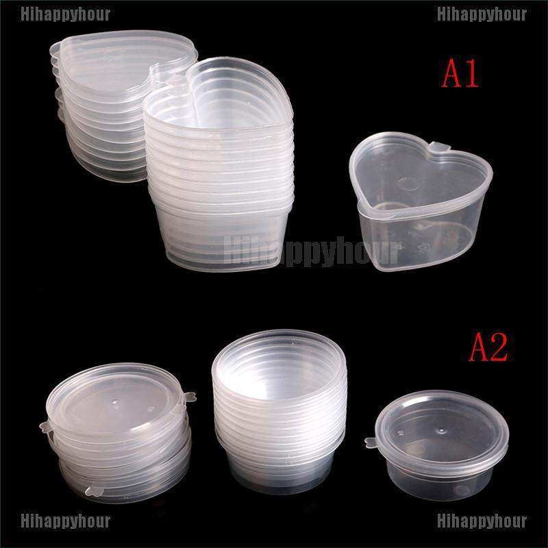 Set 10 Hộp Nhựa Trong Suốt Đựng Đồ Chơi Slime Nhiều Màu Sắc