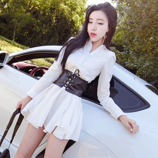 High-waisted white shirt dress with long sleeves