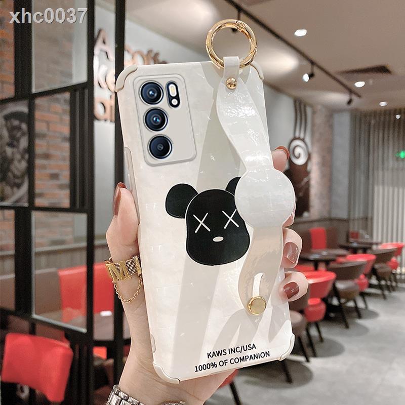 ❐Ốp điện thoại Silicone mềm họa tiết gấu có dây đeo cho Opporeno6 opporeno6pro
