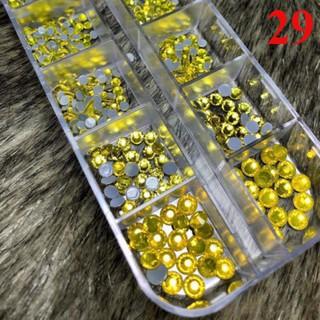 [khay 29] Đá chân keo đá nail mix size siêu sángsố lượng 1400 viên giá sỉ phụ kiện nail đồ nail giá rẻ hoài út Nail