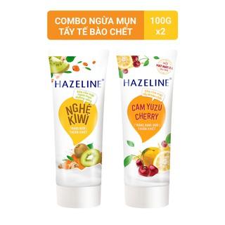 Combo Sữa rửa mặt Hazeline Nghệ Kiwi ngừa mụn 100g và Sữa rửa mặt Hazeline Cam Yuzu Cherry 100g