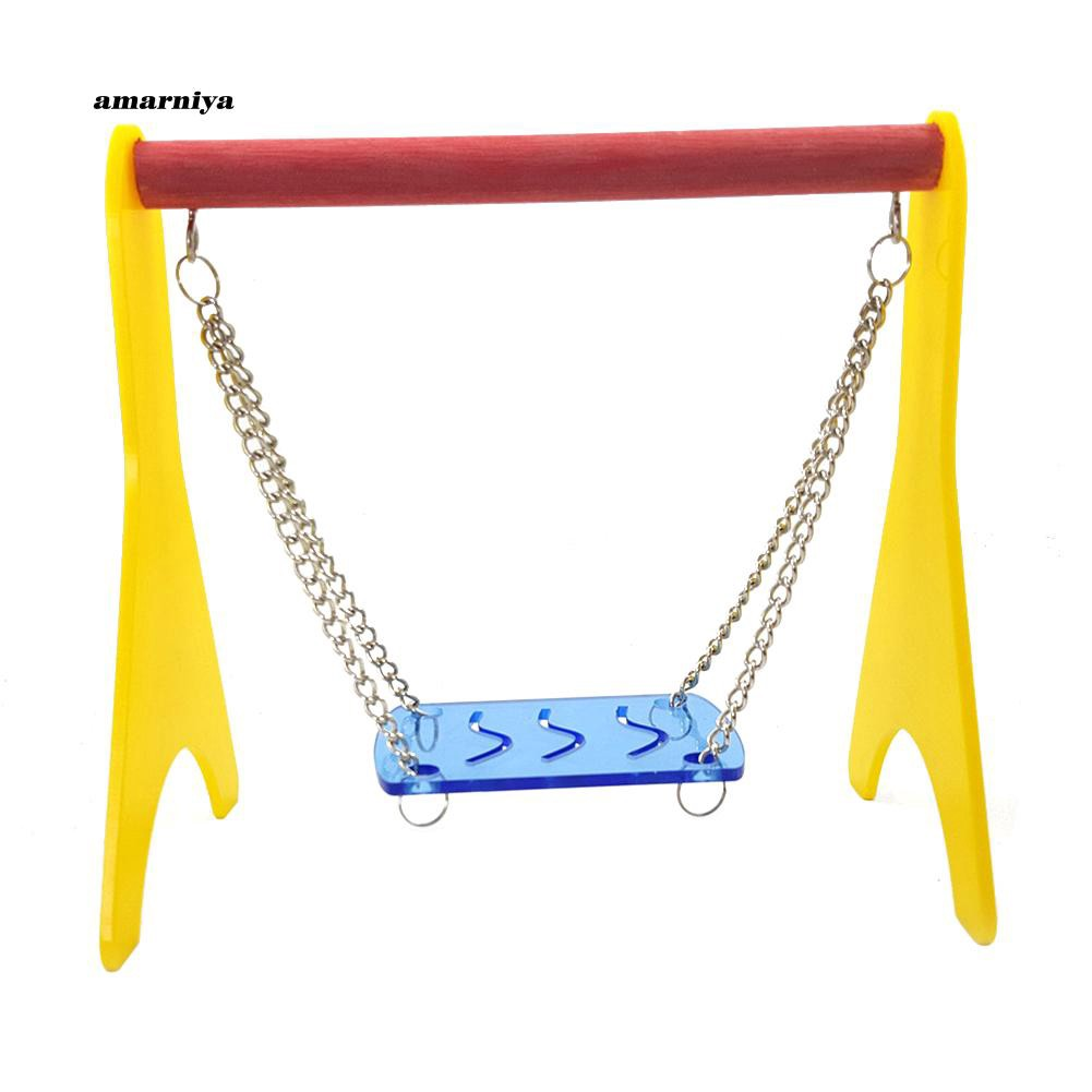 AMA♥Small Pet Bird Parrot Hamster Colorful Perch Cage Swing Play Toy Accessory Gift