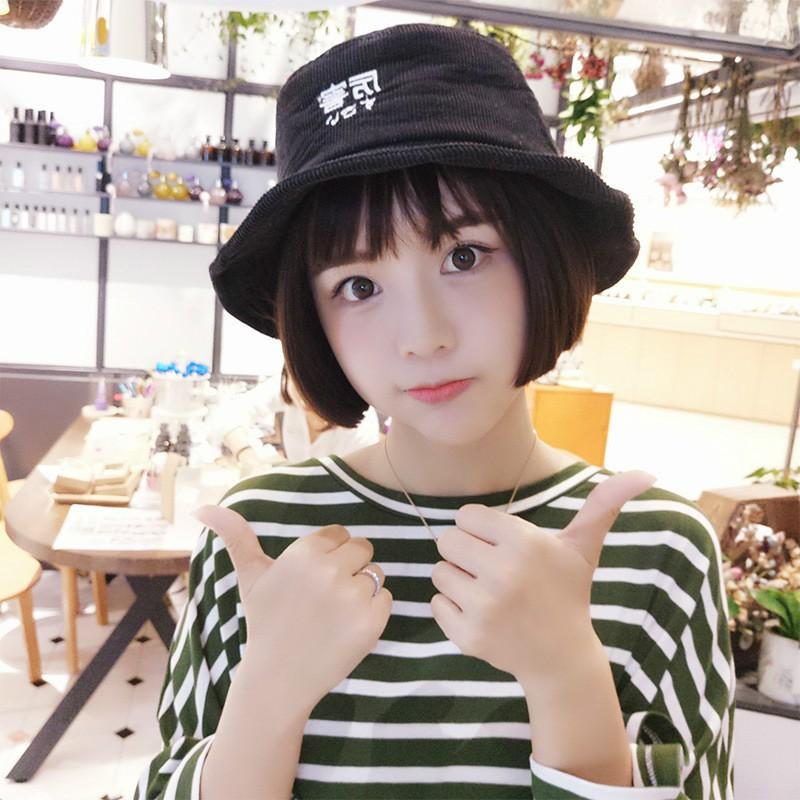 Korean fun word fisherman hat wild New ladies hat corduroy cap