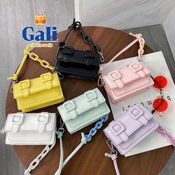 Túi đeo chéo nữ mini dây da phối xích thời trang nhỏ xinh dễ thương GL4