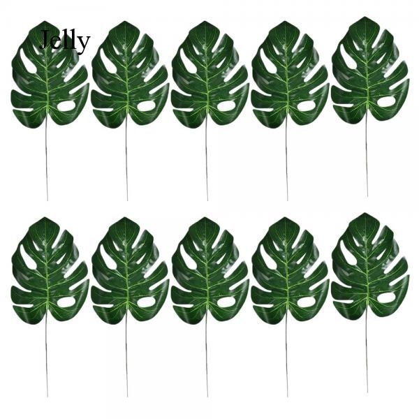 10x Artificial Tropical Palm Leaves Imitation Plant Leaves Decoration