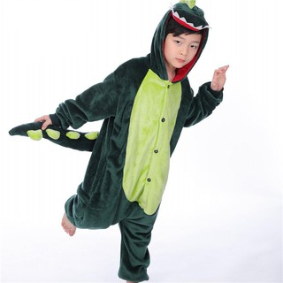 Bộ quần áo ngủ liền thân cho bé hình khủng long xanh lá