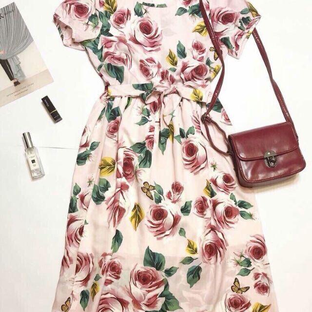 váy xòe hoa hồng buộc nơ