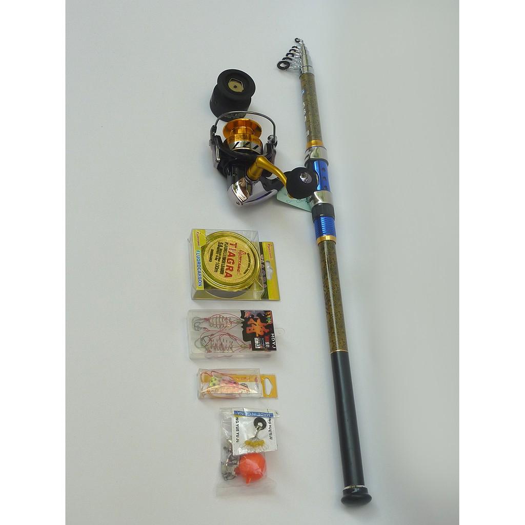 Combo cần câu Daiwa hoa văn 3m6 và máy câu cá STR 7000