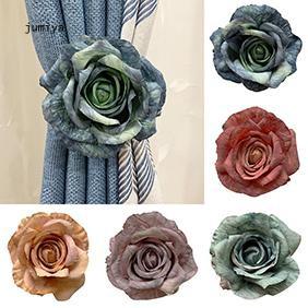 JY_Vintage Style Flower Magnetic Curtain Strap Buckle Holder Drape Tieback Rope