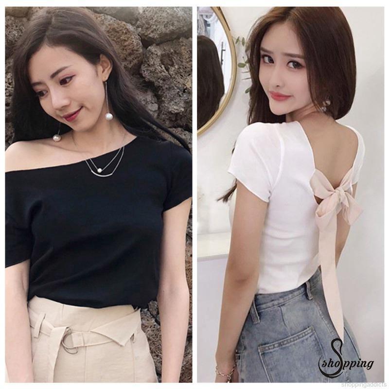 ♥SHOPG♥ Women Slash Neck T-shirt Women Slim T Shirt Sexy Back Lace Up Bow Shirt