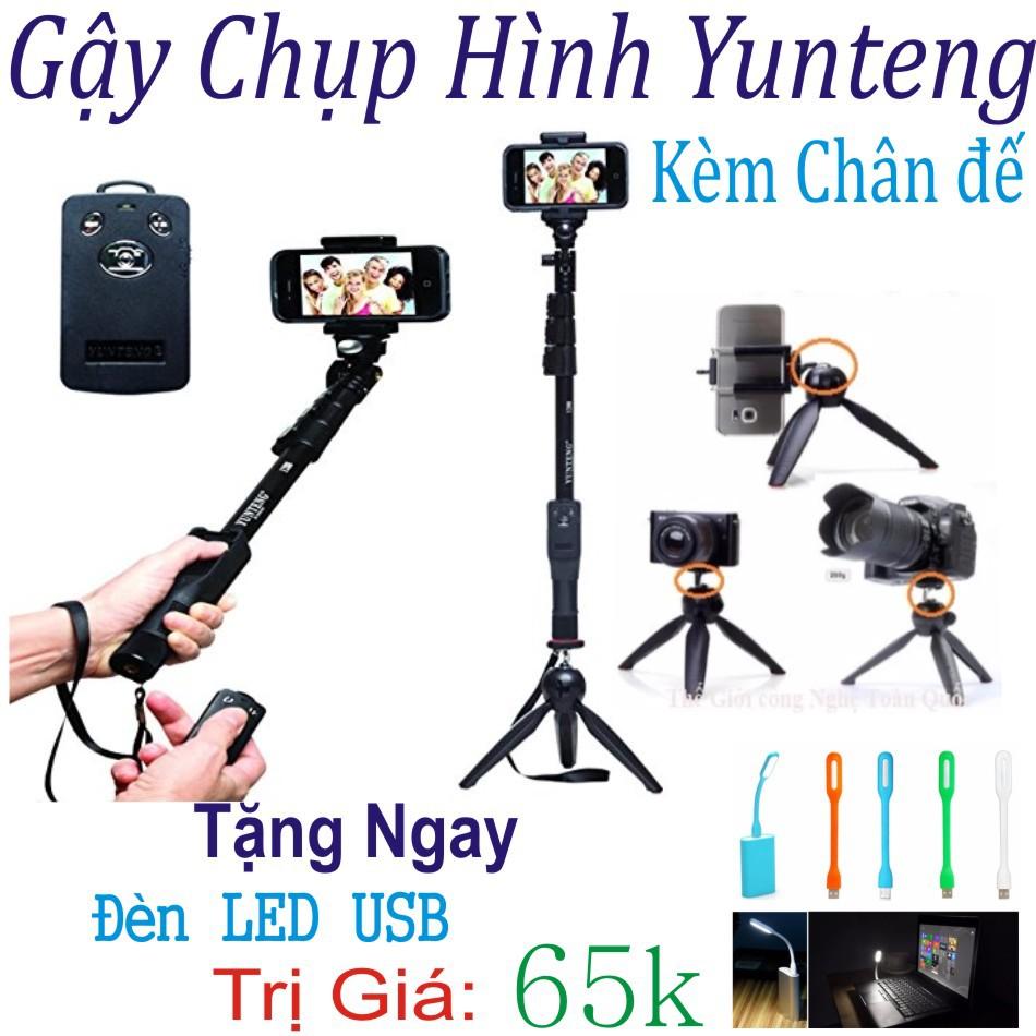 Gậy Chụp Hình Bluetooth Yunteng tặng chân đế và đèn led usb