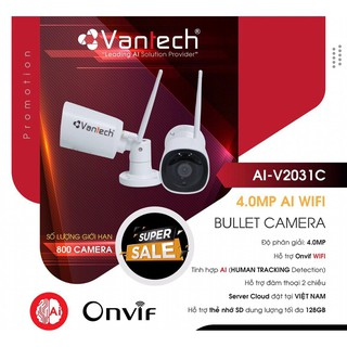 [Chính hãng] CAMERA bullet wifi cực nét full HD 4.0MP - Chính hãng Vantech AI-V2031C thumbnail
