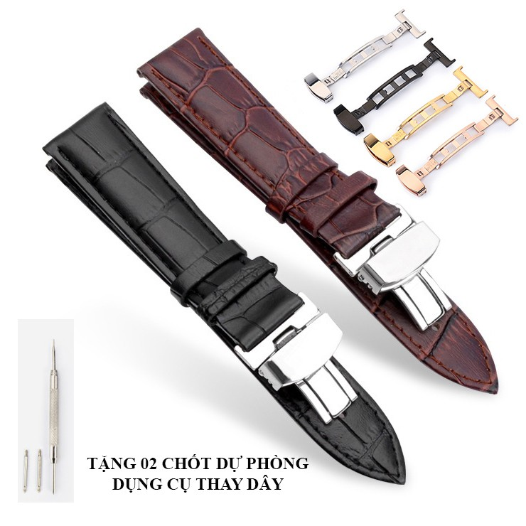 [DA XỊN] Dây da đồng hồ da bò cao cấp kèm khóa bướm thép không gỉ 316L