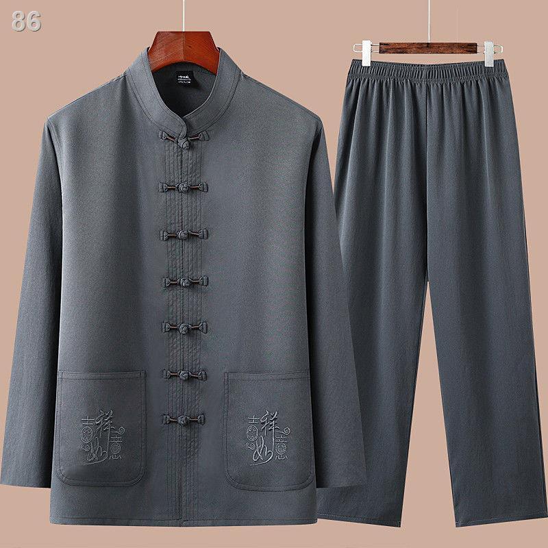 Tang suit nam dài tay cotton và lanh, quần áo trung niên và cao tuổi mỏng mùa hè, quần áo nam phong cách Trung Quốc, cha