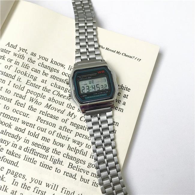 Đồng hồ điện tử thể thao nam nữ WR dây thép sang trọng, có báo thức, đèn ban đêm, kháng nước DHT4