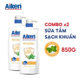 [Mã AIKE20149 giảm 20K đơn 149K] Aiken Combo 2 Sữa tắm Sạch khuẩn Chiết Xuất Bạc Hà 850g chai thumbnail