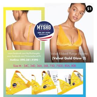 Áo bralette 51 Velvet Gold Glow, màu vàng, gài sau, không mút - Size M - Victoria s Secre thumbnail