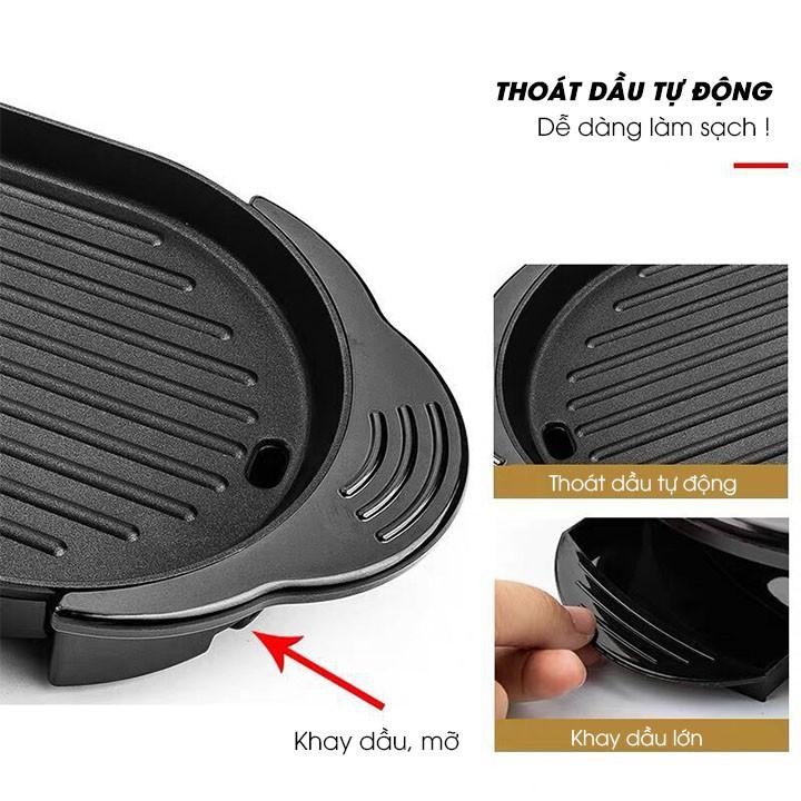 Bếp nướng điện không khói kèm Nồi lẩu điện chống dính – Bếp lẩu nướng đa năng cho gia đình