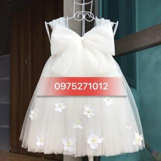 Đầm tutu cho bé ❤️FREESHIP❤️ Đầm tutu trắng nơ hoa rơi tú cầu