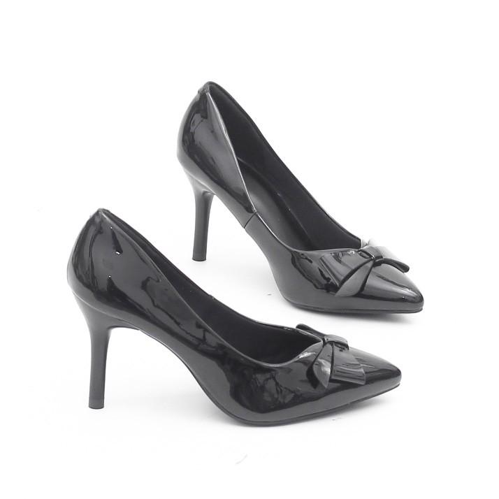 Giày Cao Gót 7cm Da Bóng Gắn Nơ Màu Đen Pixie P259