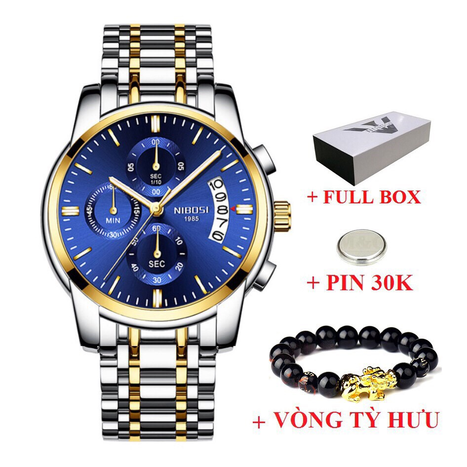 Đồng Hồ Nam NIBOSI NI2353 Dây Thép Cao Cấp Chính Hãng + Tặng Kèm Vòng Tay (FULL BOX)