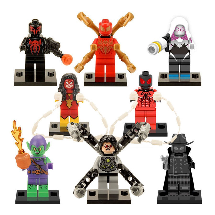 8pcs/set Iron Spider Man Minifigures Super Heroes Mujer Goblin Building toys