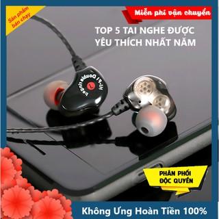 Tai Nghe CHỐNG ỒN DOUBLE RINGED SUPER BASS PRO 2021 Âm Thanh Kép Siêu Cao Cấp, Tai Phone Có Dây Cho Điện Thoại Máy Tính