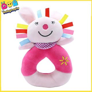 Cute Cartoon Animal Puzzle Hand Ring Baby With Ball Ball Plush Hand Rattle Toy