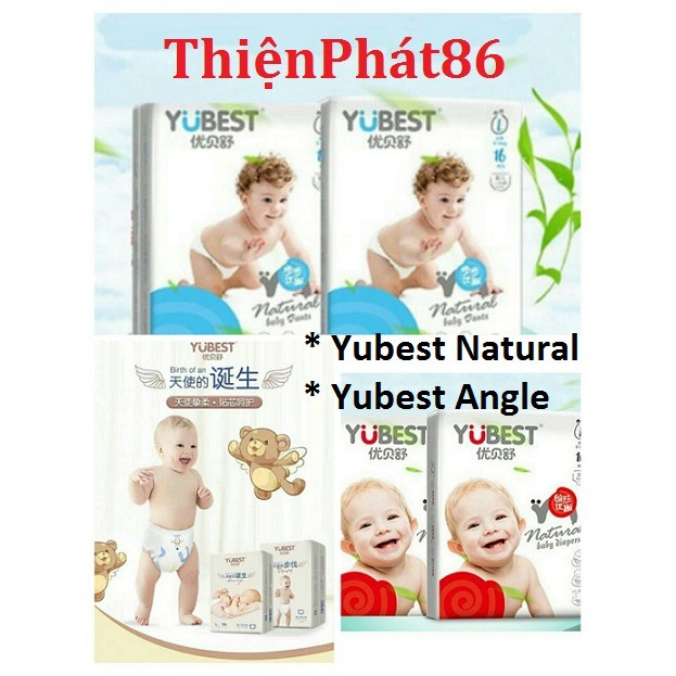 Bỉm Yubest Natural/ Yubest Angle dán/ quần nội địa Trung Quốc S132/M108/L96/XL84/XXL72/S90/M84/XL72/XXL66