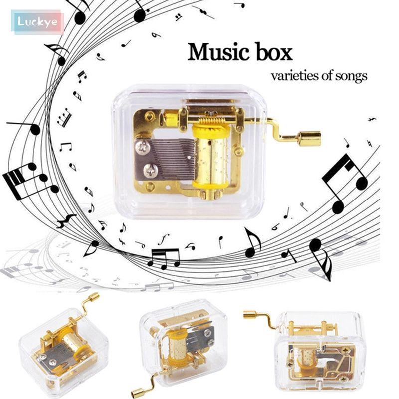 Transparent Hand Cranked Gurdy Musical Mechanism Music Box Exquisite Gift [Luckye]