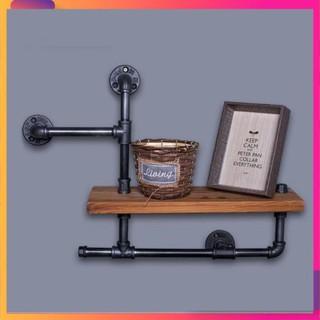 Bộ kệ treo tường chất liệu gỗ và ống săt bền đẹp trang trí phòng sáng tạo, độc, lạ trangtriphong.vn