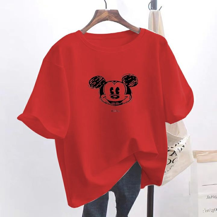 Net red ins super fire short-sleeved t-shirt female Korean version of the trendy Mickey cartoon age-reducing loose clothes