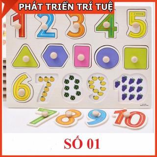 Đồ chơi bảng ghép gỗ núm cầm chủ đề 10 số kèm hình – Bảng số 01 số và hình khối