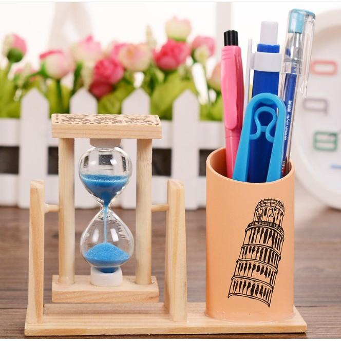 Ống đựng bút gỗ kèm đồng hồ cát, hộp cắm bút kèm đồng hồ cát để bàn Jika Store