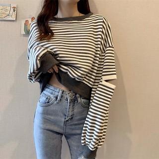 Áo Sweater Tay Dài Dáng Rộng Kẻ Sọc Kiểu Hàn Quốc Thời Trang Mùa Thu 2020