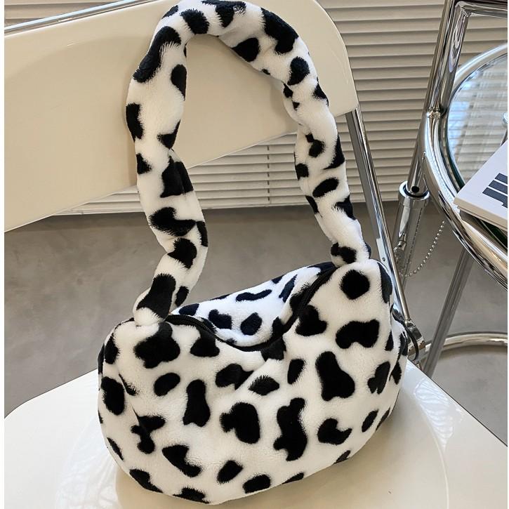 Túi xách vuông đeo vai lông nhung mềm mại hợp thời trang họa tiết xinh xắn