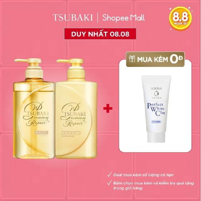 [Mã FMCGMALL giảm 8% Tối đa 80K đơn 250K] Bộ đôi gội xả Phục hồi ngăn rụng tóc Premium Repair Tsubaki 490ml/chai