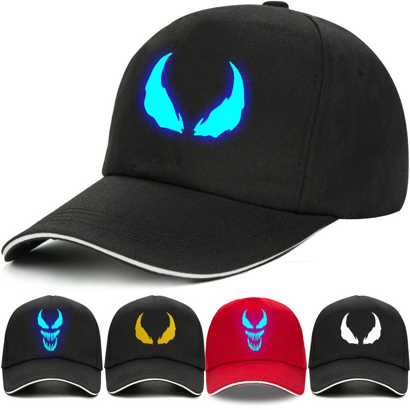 Night light venom around the hat Spiderman children female boy winter baseball cap movie peripheral visor cap