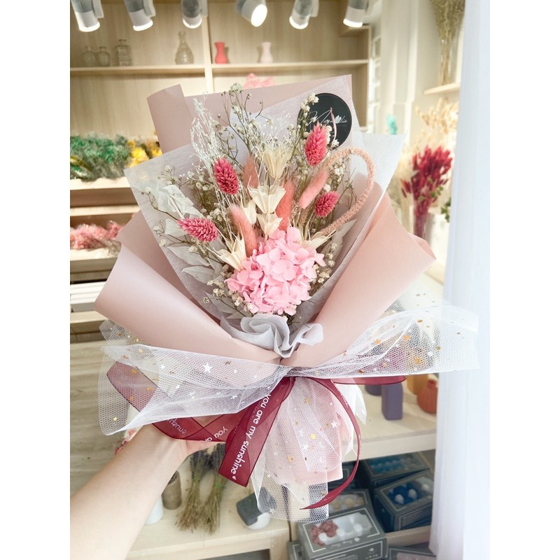 Bó hoa khô gói giấy kim tuyến nhiều tone màu xinh xắn Hoa Khô Mộc Lan