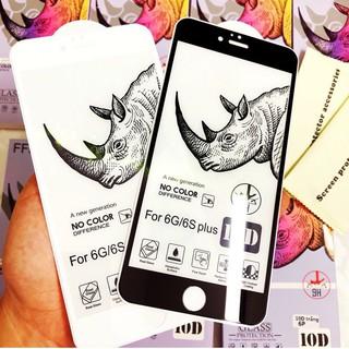 Kính cường lực iPhone 10D Tê Giác Loại 1 FREESHIP Cho 6 7 6Plus 7Plus X XR XsMax 11 11Pro 11ProMax 5