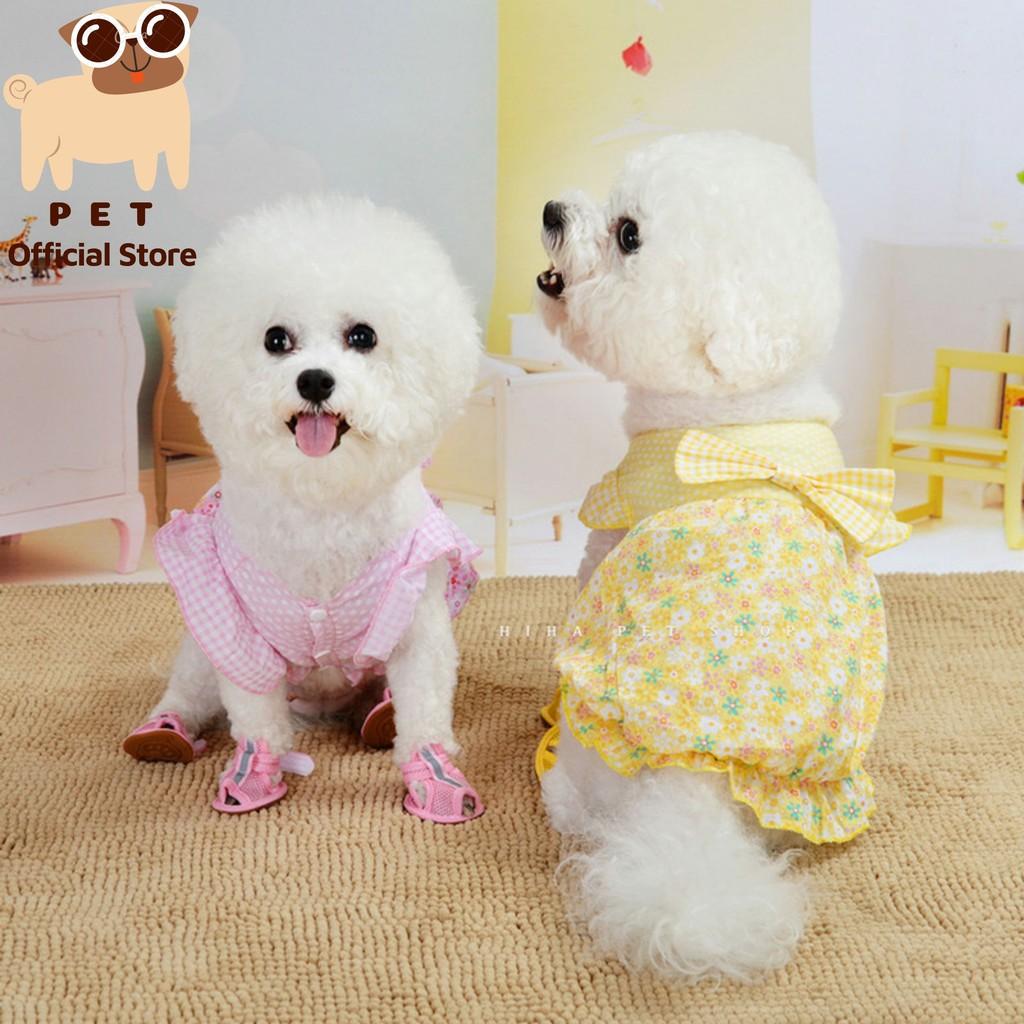 Áo hoa mùa hè công chúa có nơ vải mỏng mát cho thú cưng Pet Fashion Official Store.