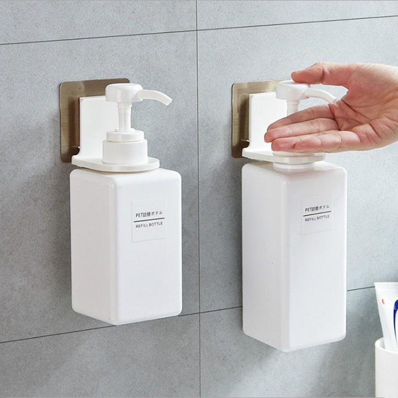 Móc dán tường treo chai dầu gội, sữa tắm, xà phòng, nước rửa tay/ giá gắn tường nhà tắm bồn rửa siêu tiện lợi