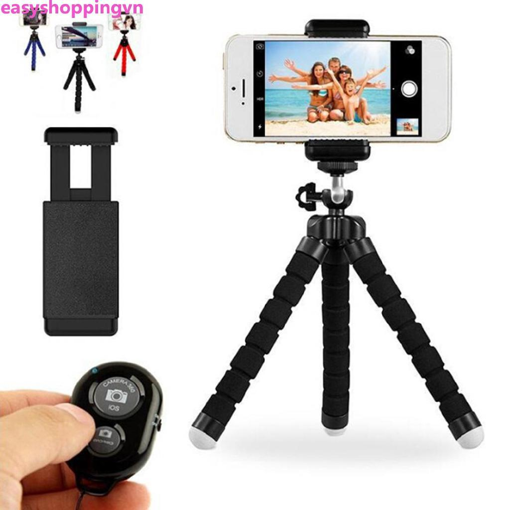 ☀ Mini Flexible Cell Phone Sponge Tripod Stand Bluetooth Remote Mobile Phone Holder