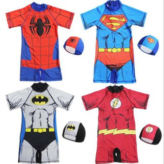 Bộ đồ bơi + Mũ bơi in hình nhân vật siêu anh hùng cho bé trai thumbnail