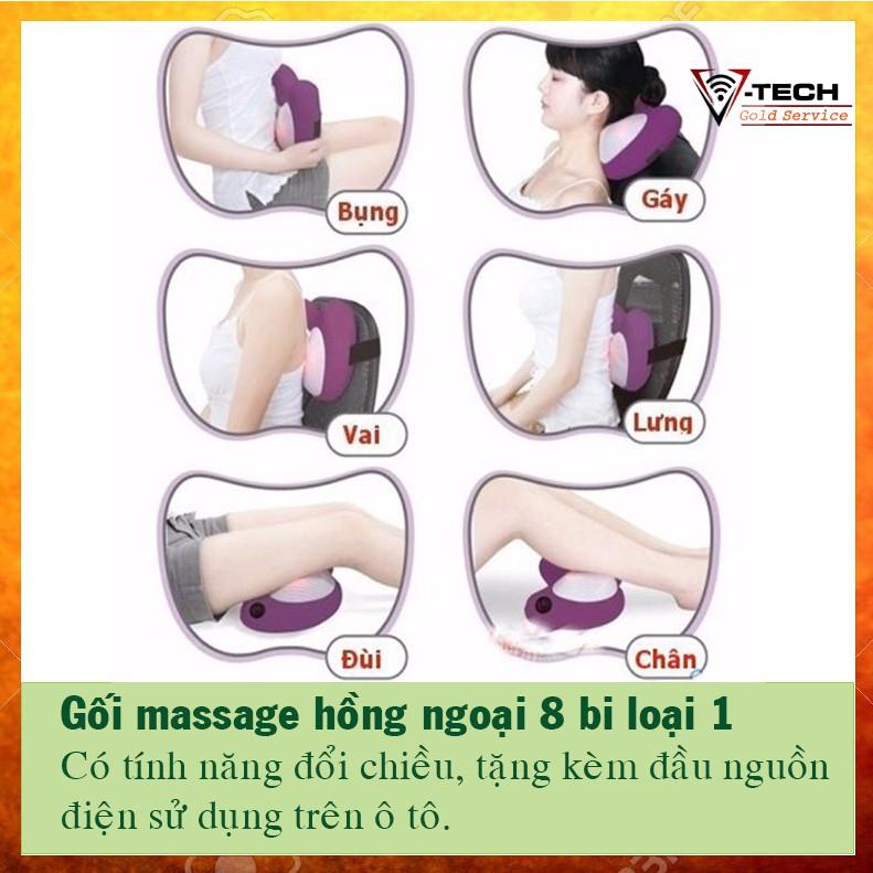 Gối massage thư giản 8 bi loại 1 + tặng đầu nguồn dành cho ô tô