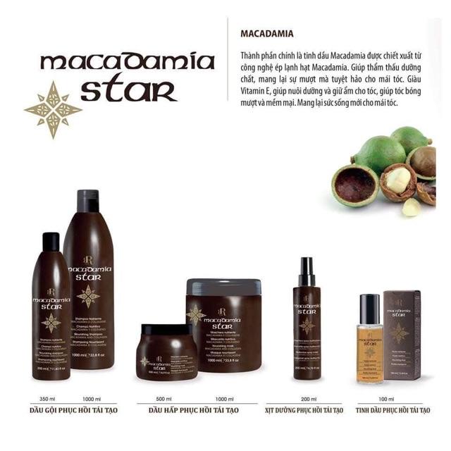 Dầu gội  Kiềm Dầu Kích Thích Mọc Tóc Macadamia Star Chiết Xuất Tinh Dầu Quả Maca Phục Hồi Hư