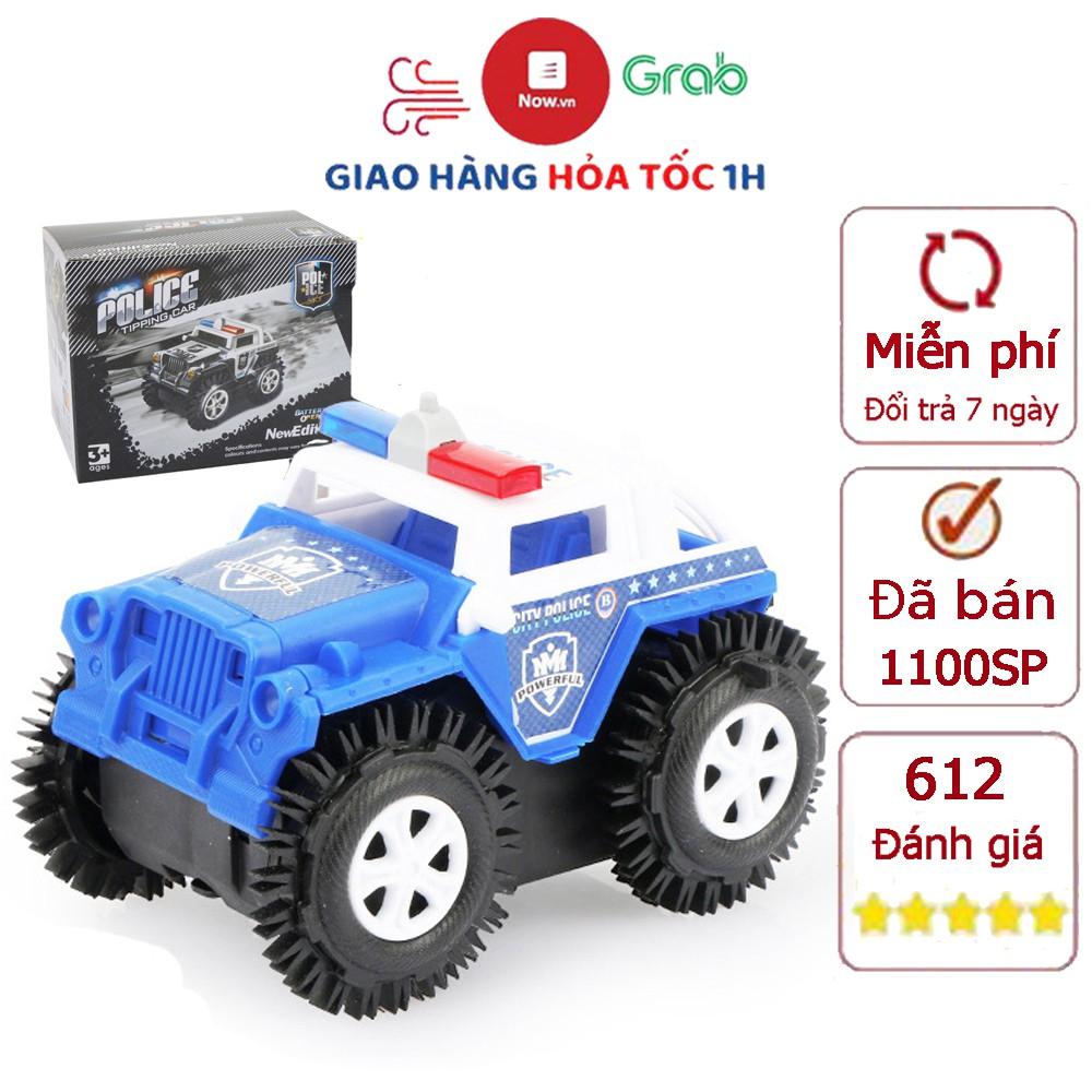 Xe ô tô đồ chơi chạy pin xe cảnh sát cho bé trai hoặc gái chạy bằng pin tiểu (màu xanh trắng) nhựa nguyên sinh