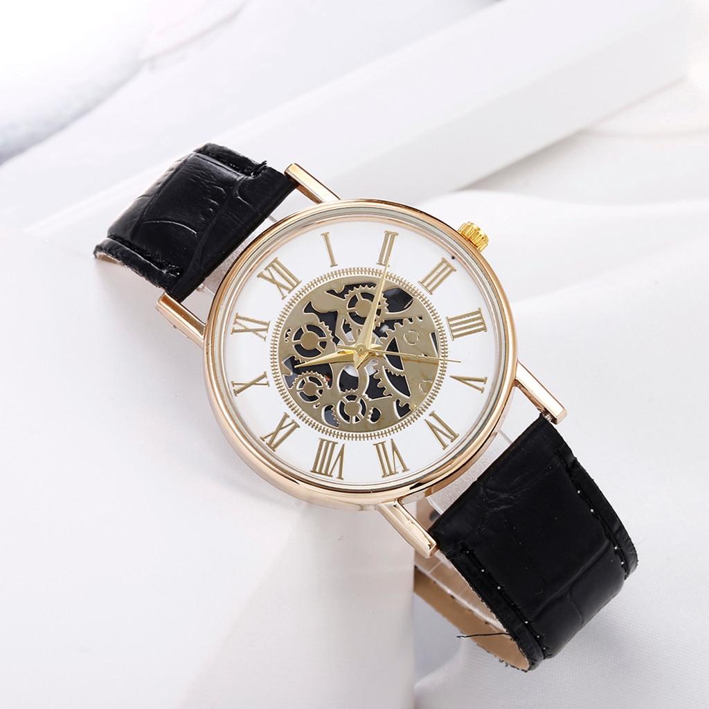 นาฬิกาข้อมือสายหนังผู้ชายธุรกิจแฟชั่นฮอลโลว์