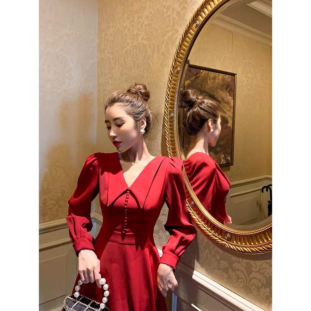 Mặc gì đẹp: Sang chảnh với Đầm dự tiệc dáng xòe màu đỏ tay dài cổ nhọn mới lạ phối nút bọc cao cấp đi đám cưới, noel, tết siêu xinh - VADA - V555